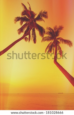 Retro stylized two palm trees on tropical beach at sunset