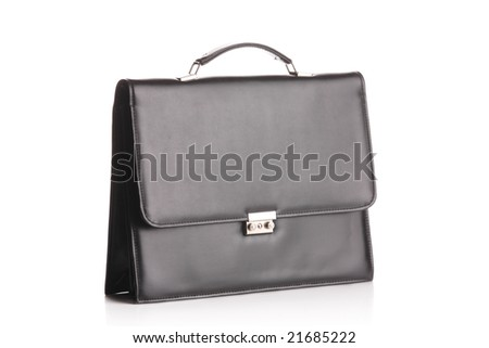 Retro suitcase isolated against white background