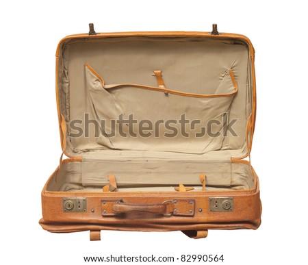 Retro Suitcase opened isolated over white - stock photo