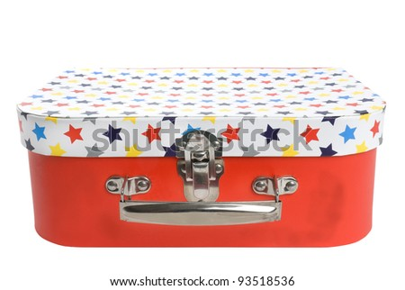 Retro suitcase with star pattern on white background