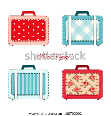 Retro suitcases as fabric applique in shabby chic style - stock photo