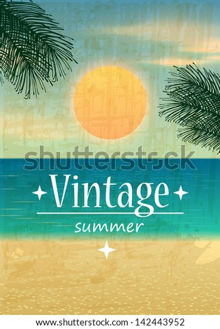 Retro summer background illustration with ocean, palm leaves, beach and sunset - stock photo