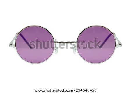 Retro sunglasses, Round sunglasses isolated on white background, Vintage sunglasses, Purple.  - stock photo