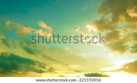 Retro Sunset Sky - stock photo