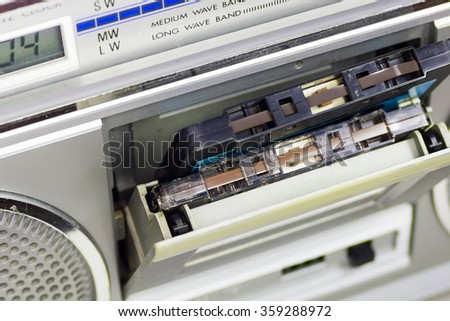 Retro tape recorder with the open deck  - stock photo