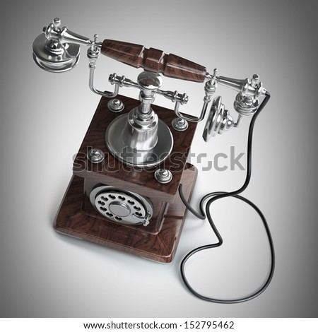 Retro Telephone. High resolution 3d  - stock photo