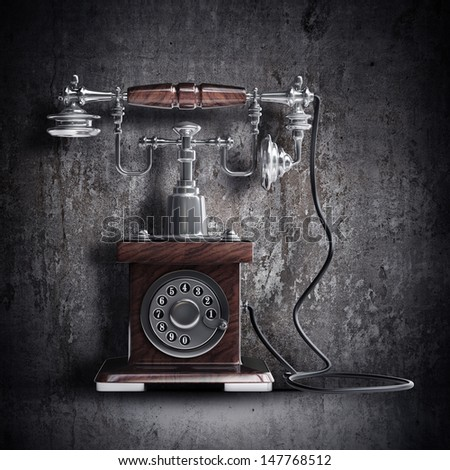 Retro Telephone on grunge background. High resolution 3d