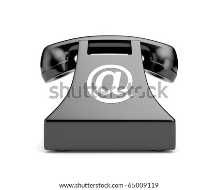 Retro telephone with email symbol