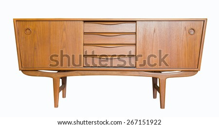 retro Television cabinet isolate on white background - stock photo