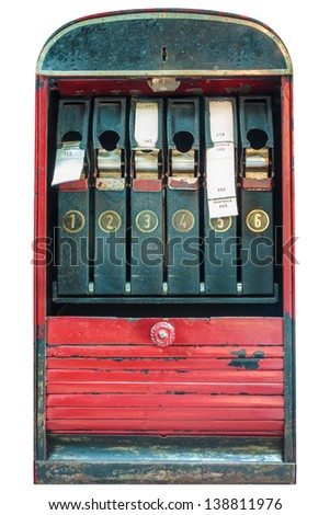 Retro ticket machine with tickets isolated on a white background - stock photo