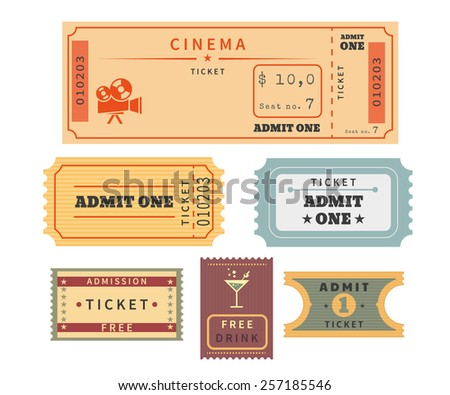 Retro tickets set. Template  for cinema and other events - stock photo