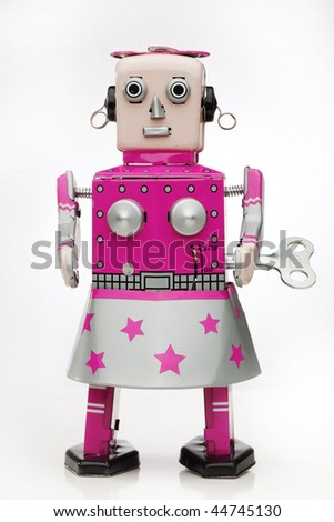 retro tin robot - stock photo