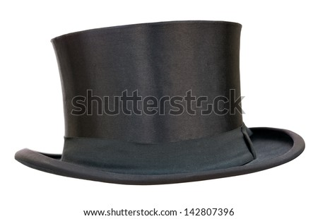 Retro top hat on white. Clipping path included. - stock photo