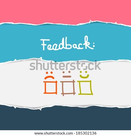 Retro Torn Paper Feedback Background - stock photo