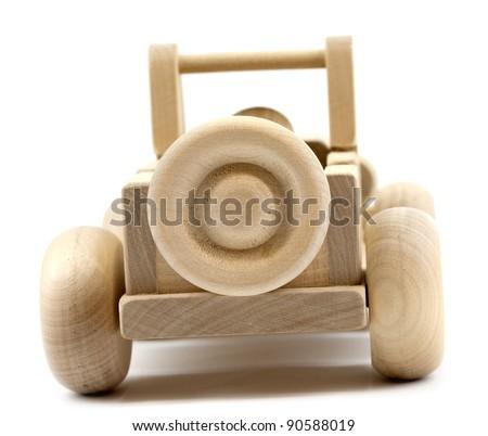 Retro toy car isolated on white background - stock photo