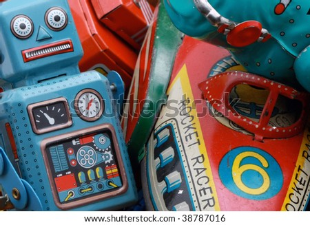 retro toys  in a box - stock photo