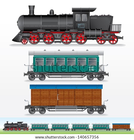 Retro Train. Image of Steam Locomotive with Railway Cargo Wagon and Passenger Car. Side View Illustration - stock photo