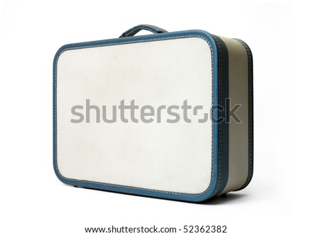 Retro traveled suitcase isolated on white. - stock photo