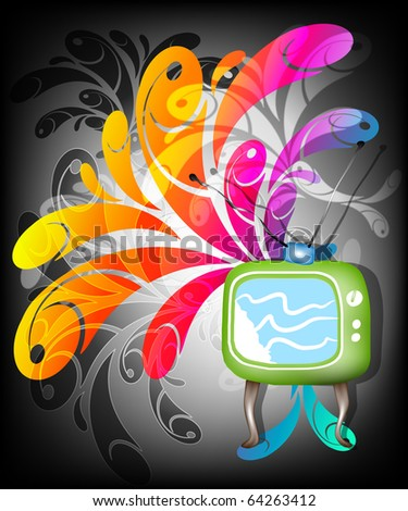 Retro TV background Raster version - stock photo