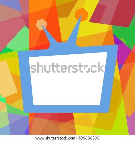 Retro TV, colorful funny photo frame on abstract background  - stock photo