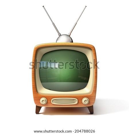 retro tv 3d illustration  - stock photo