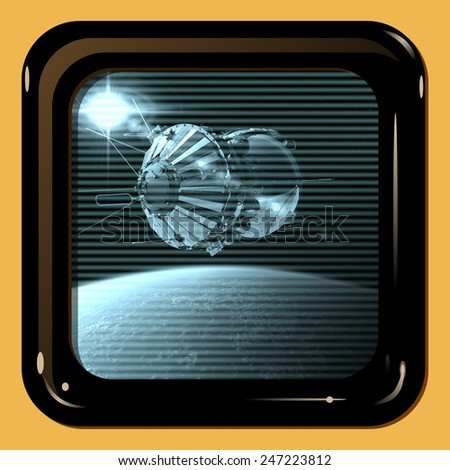 Retro TV display with first spaceship - stock photo