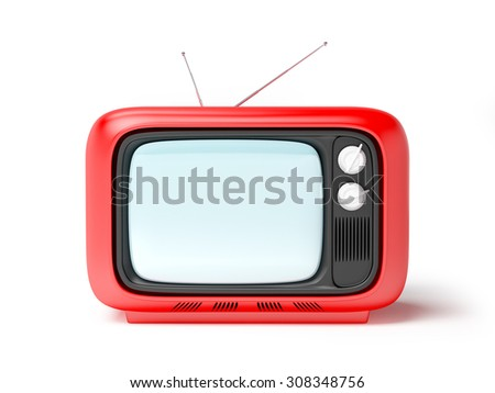 retro tv in seventies style isolated on white. Front view
