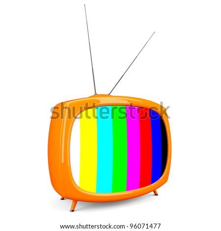 Retro TV isolate on white background - stock photo