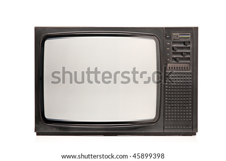 Retro TV isolated on white background - stock photo