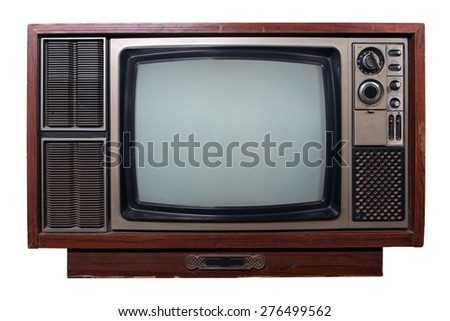 retro tv isolated white background - stock photo
