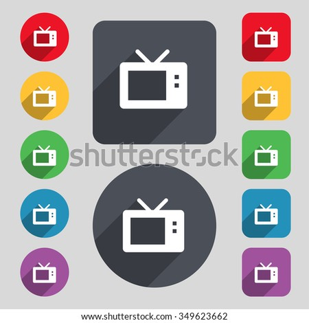 Retro TV mode icon sign. A set of 12 colored buttons and a long shadow. Flat design. illustration
