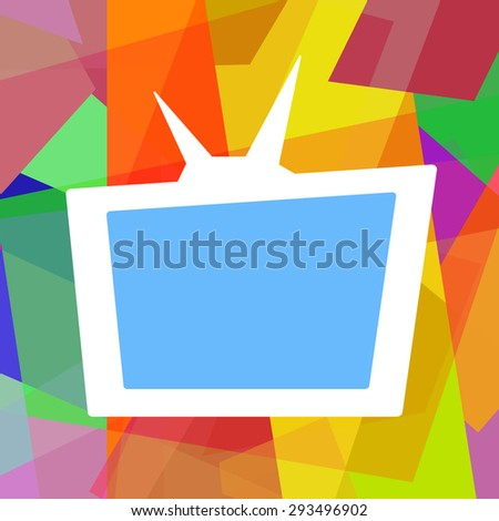 Retro TV on funny colorful abstract background - stock photo