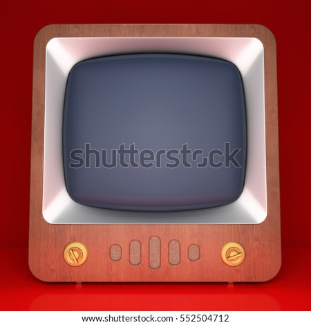 Retro TV on red background. 3D rendering