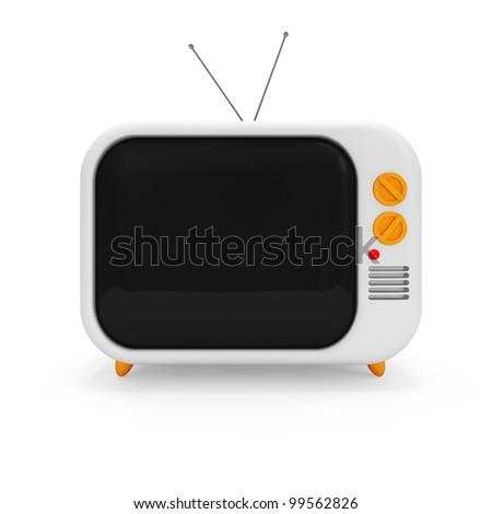 Retro TV on white background - stock photo