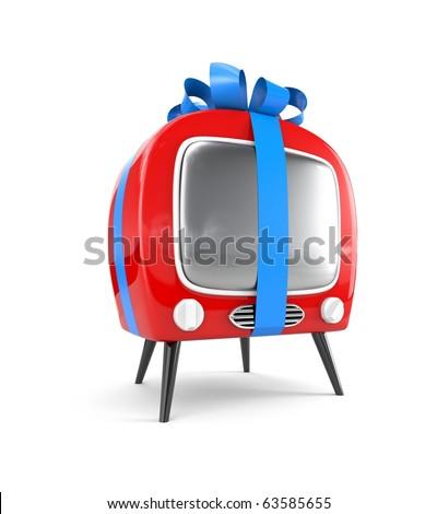 Retro TV tied with a ribbon - stock photo