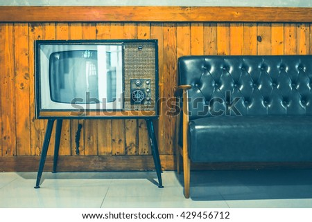retro tv turned of against wood wall