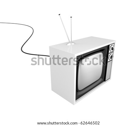 Retro TV with cable - stock photo