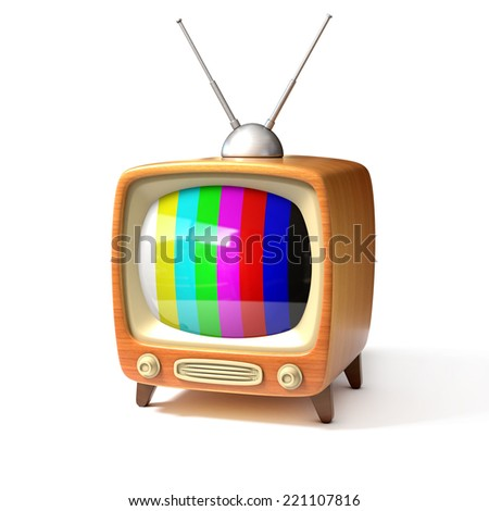 retro tv with color bars screen 3d illustration - stock photo
