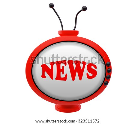 Retro TV with inscription news - stock photo