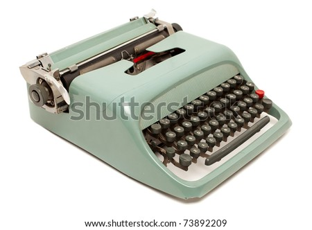 Retro typewriter isolated - stock photo