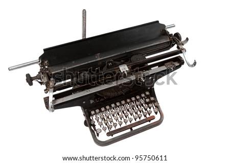 retro typewriter  isolated on white background - stock photo