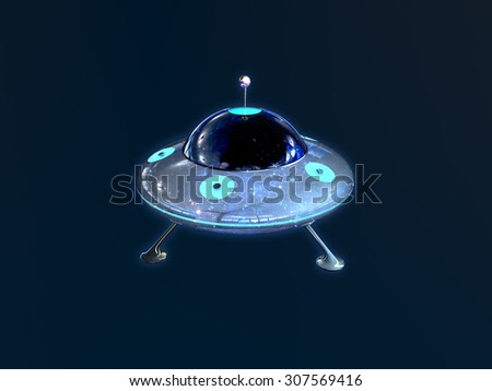 Retro UFO in space - stock photo