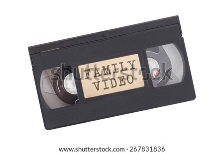 Retro videotape isolated on a white background - Family video - stock photo