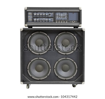 Retro vintage bass amplifier isolated on white. - stock photo