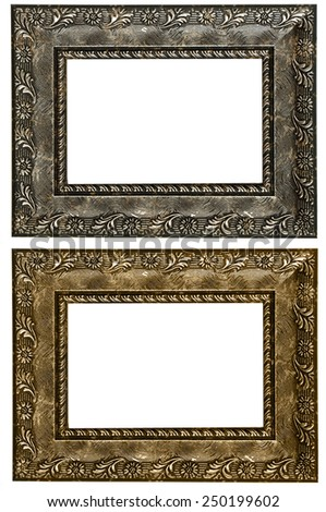 Retro vintage bronze frame and old silver, isolated on white background. - stock photo