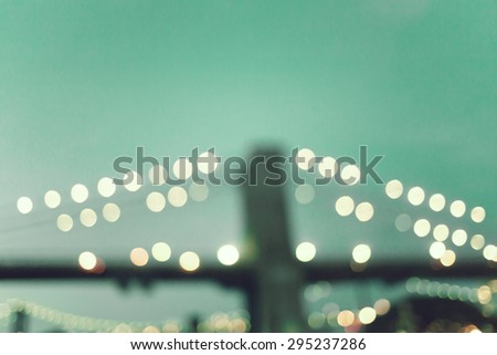 Retro Vintage Brooklyn bridge lights - stock photo