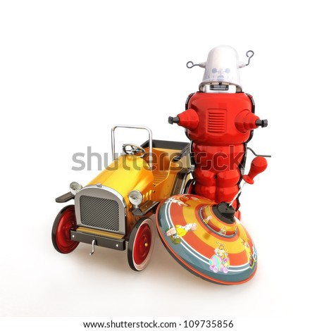 Retro vintage collection of toys, car, spin top and robot on a white background - stock photo