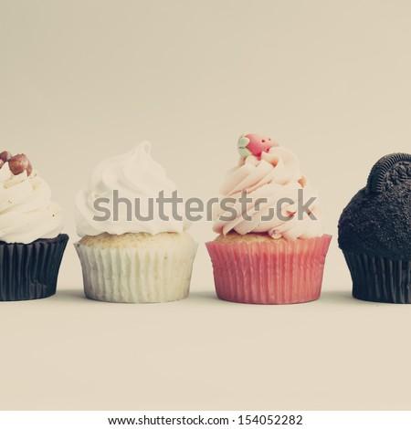 Retro Vintage Cupcakes - stock photo