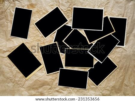 retro, vintage empty photo frames, free copy space  - stock photo