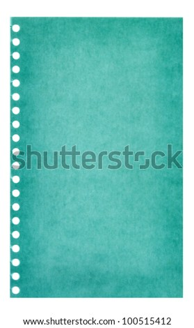 Retro vintage green page ripped off from the notebook - stock photo